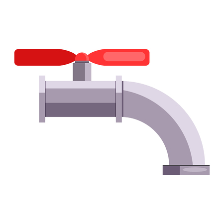 Steel water tap illustration. Pipeline, repair, fixing. Engineering concept. Vector illustration can be used for topics like leakage, repair service, construction Banque d'images - 124799086