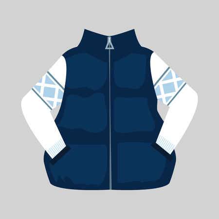 Waistcoat and sweater illustration. Cloth, winter, style. Fashion concept. Vector illustration can be used for topics like shopping, wardrobe, winter