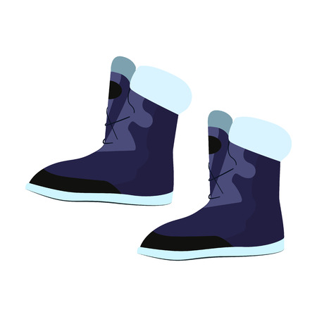 Warm blue boots illustration. Shoes, winter boots, cold time. Fashion concept. Vector illustration can be used for topics like shopping, wardrobe, winter