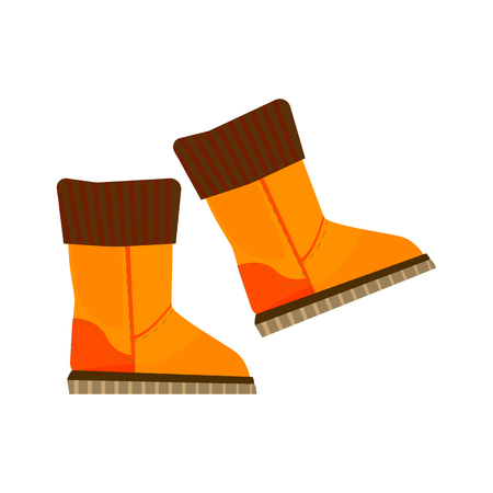 Warm boots illustration. Shoes, warm, cold time. Fashion concept. Vector illustration can be used for topics like shopping, wardrobe, winter Illustration