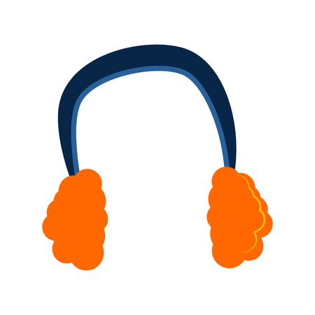Warm headphones illustration. Warm clothing, fluffy, winter cloth. Fashion concept. Vector illustration can be used for topics like shopping, wardrobe, winter