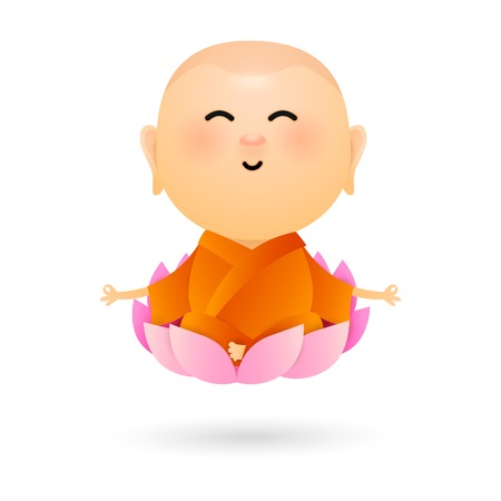 Cartoon Buddha sitting in lotus. Small buddha meditating in pink lotus flower. Can be used for topics like relaxation, yoga, healthy life