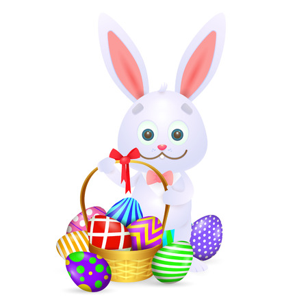 Cartoon Easter rabbit. Cute rabbit with full basket of colorful Easter eggs. Can be used for topics like Easter, festival, decoration