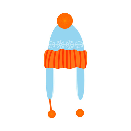 Blue and orange hat illustration. Cloth, accessory, style. Fashion concept. Vector illustration can be used for topics like shopping, wardrobe, winter