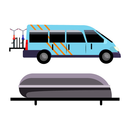 Blue minivan illustration. Vehicle, travelling, automobile. Transport concept. Vector illustration can be used for topics like trip, transportation, vehicles Illustration
