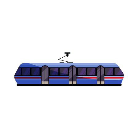 Blue tramway illustration. Vehicle, city transport. Transport concept. Vector illustration can be used for topics like social service, trip, transportation