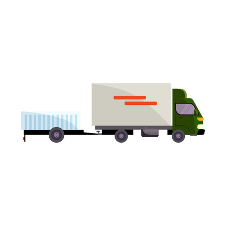 Cargo truck illustration. Automobile, vehicle, transport. Delivery concept. Vector illustration can be used for topics like transportation, logistics, delivery service Standard-Bild - 124799104