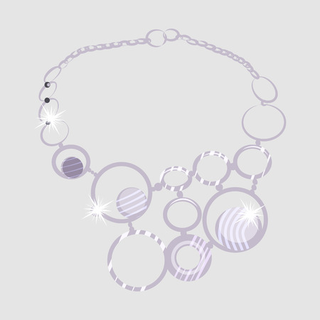 Necklace vector illustration. Rings, collar, gem, diamond, glittering. Jewelry concept. Vector illustration can be used for topics like jewelry store, gift, glamour, luxury