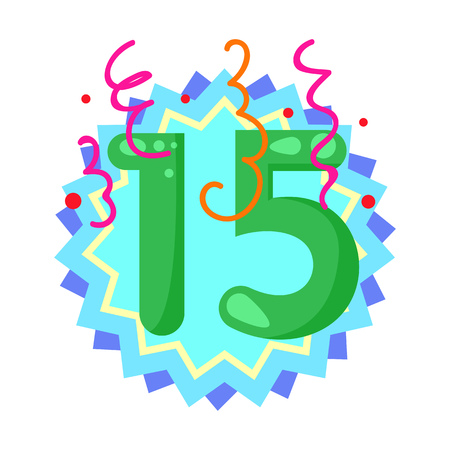 Fifteen year anniversary illustration. Birthday, celebration, greeting. Festive concept. Vector illustration can be used for topics like party, birthday, congratulation 일러스트