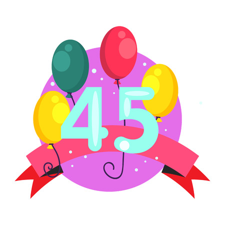 Fourty five anniversary illustration. Birthday, celebration, greeting. Festive concept. Vector illustration can be used for topics like party, birthday, congratulation Çizim
