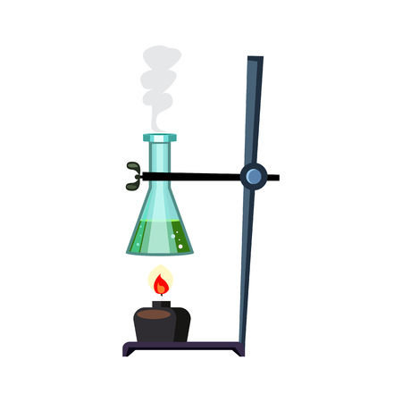 Heating chemical liquid. Flask with boiling substance on support. Can be used for topics like chemical reaction, biology, science