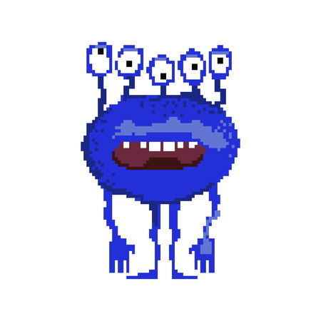 Pixel monster opening mouth when surprise. Confused alien with many eyes looking in different directions. Can be used for topics like emotion, creature, character  イラスト・ベクター素材