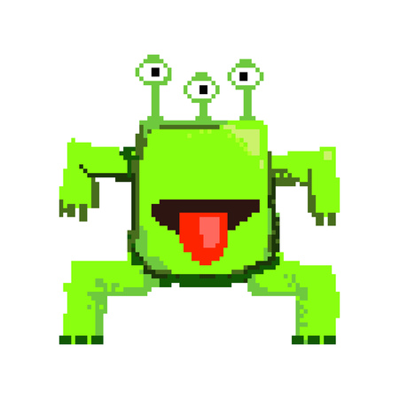 Pixel monster showing tongue. Green big crazy scary game character. Can be used for topics like enemy, creature, alien