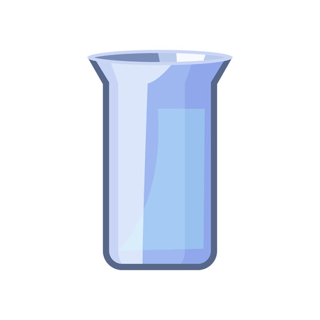 Rectangular glassy beaker. Blue beaker for chemical experiment. Can be used for topics like chemistry, biology, laboratory