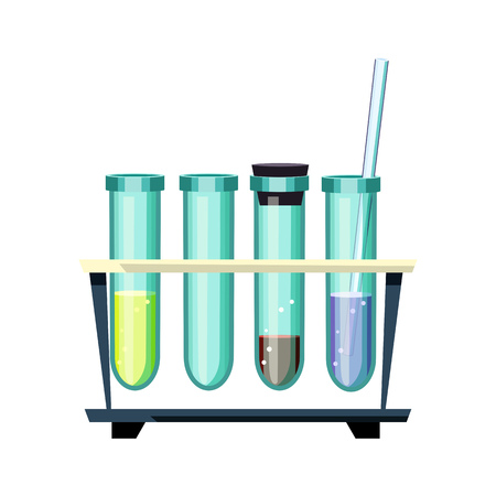 Set of laboratory test tubes. Glassware with various liquids for experiment. Can be used for topics like medicine, pharmacology, discovery