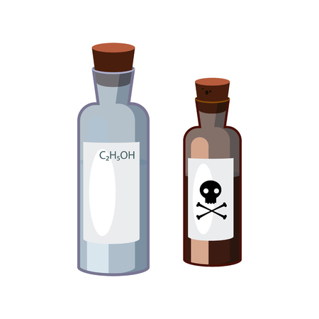 Bottles with hazardous liquids. Containers of alkali and dangerous substance. Can be used for topics like chemistry, biology, laboratory Illustration