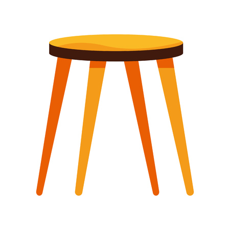 Wooden stool illustration. hair, kitchen, furniture, seat. Furniture concept. Vector illustration can be used for topics like indoor, wood, decoration