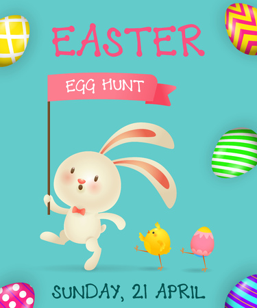 Easter Egg Hunt poster design. Cartoon bunny with flag, chicks and colored eggs on blue background. Illustration can be used for flyers, invitation cards, event announcement