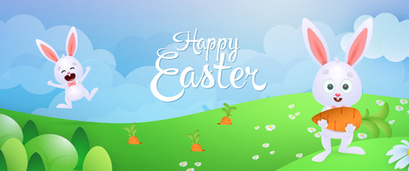 Happy Easter banner design. Cheerful rabbits picking carrots on flowery meadow. Illustration can be used for posters, flyers, leaflets