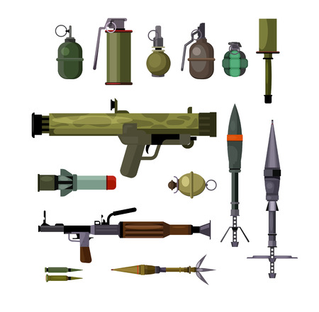 Military weapons set. Collection for war force. Can be used for topics like aggression, destruction, fight Çizim