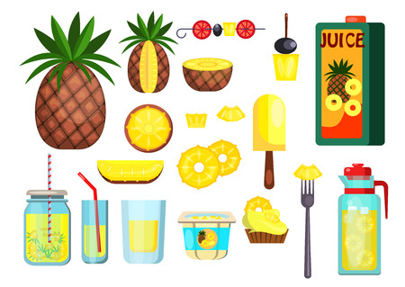 Pineapple set illustration. Pineappe, cocktails and fresh juice on white bacground. Food concept. Vector illustration can be used for topics like beach, resort, vacation