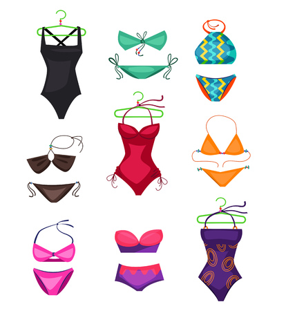 Swimwear set illustration illustration. Set of swimwear on white background. Vacation concept. Vector illustration can be used for topics like beach, resort, vacation