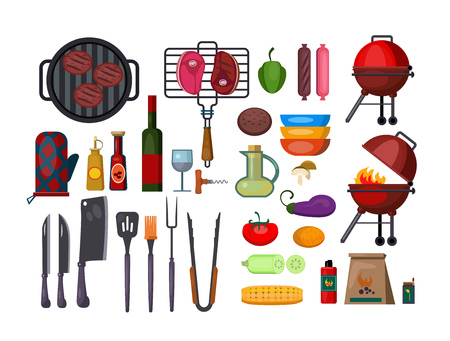Barbeque set illustration. Set of instruments and food products for grill picnic on whie background. Cooking concept. Vector illustration can be used for topics like picnic, party, cooking