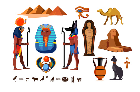 Egyptian symbols set. Egypt culture collection. Can be used for topics like history, heritage, archeology
