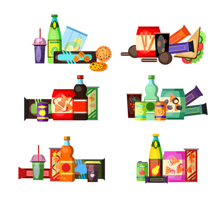 Unhealthy food and drinks set. Junk food collection. Can be used for topics like lunch, snack, fastfood 向量圖像