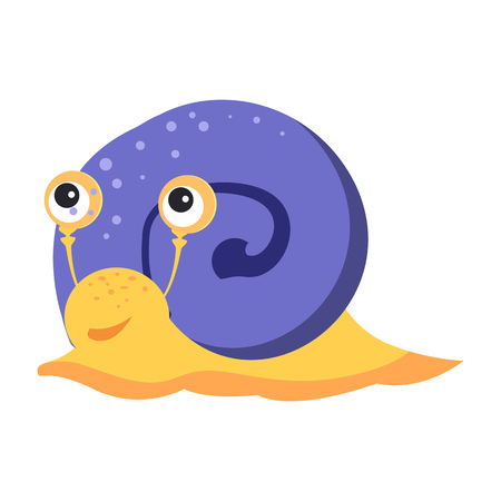 Funny snail with blue cochlea flat icon. Book character, pet, gastropod. Mollusk concept. Vector illustration can be used for topics like zoology, nature, fauna Ilustração