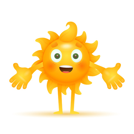 Happy cartoon sun welcoming you. Outstretched, cheerful, positive. Can be used for topics like hospitality welcoming, greeting