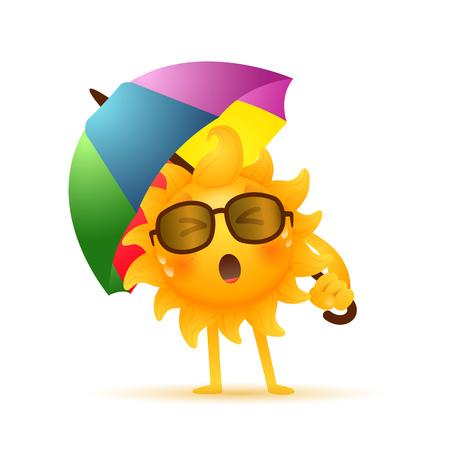 Soleil endormi sous le parapluie. Fatigué, sueur, lunettes de soleil. Peut être utilisé pour des sujets comme le matin, le temps chaud, les vacances