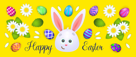 Happy Easter lettering with bunny, eggs, flowers. Easter greeting card. Handwritten text, calligraphy. For leaflets, brochures, invitations, posters or banners.