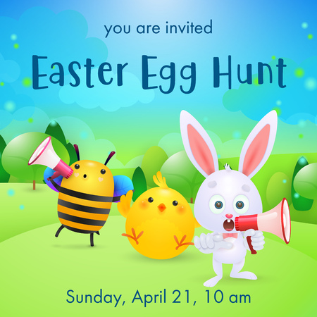 Easter Egg Hunt lettering, loudspeakers, rabbit, bee and chick. Easter party invitation. Type text, calligraphy. For leaflets, brochures, invitations, posters or banners.