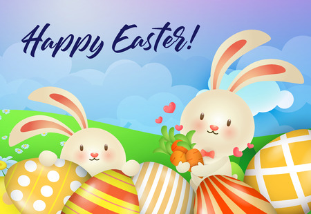Happy Easter lettering, cute rabbits with carrots and decorated eggs. Easter greeting card. Handwritten text, calligraphy. For leaflets, brochures, invitations, posters or banners.
