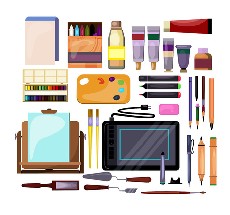 Art and craft tools set. Collection for painting. Can be used for topics like creativity, workshop, designer Vector Illustration