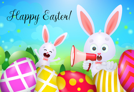 Happy Easter lettering, rabbits with megaphone and decorated eggs. Easter greeting card. Handwritten text, calligraphy. For leaflets, brochures, invitations, posters or banners. Ilustração Vetorial