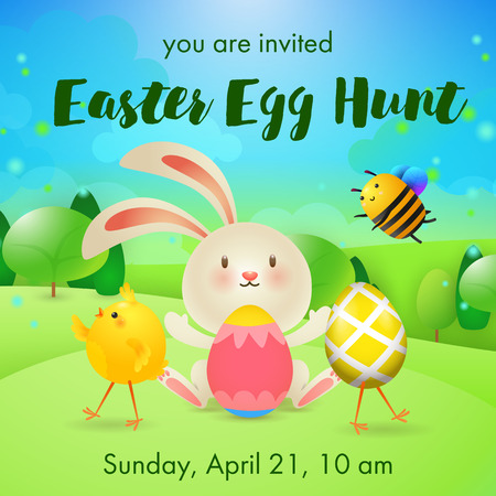 You are Invited, Easter Egg Hunt lettering, rabbit, bee and chick. Easter party invitation. Handwritten text, calligraphy. For leaflets, brochures, invitations, posters or banners.