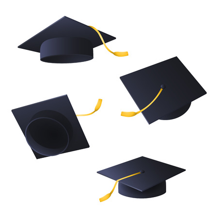 Flying graduation caps. Set of black caps with tassels. Can be used for topics like university, diploma, education