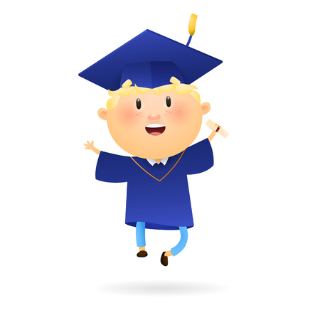 Graduation student with diploma. Happy boy jumping after graduation ceremony. Can be used for topics like academic, achievement, knowledge
