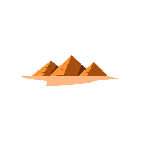 Egyptian pyramids in desert. Group of pyramids on sand. Can be used for topics like landmark, Egyptology, heritage Ilustrace
