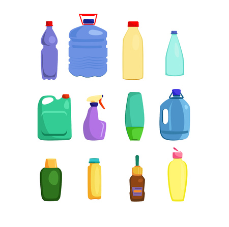 Cleaning supplies and lubricants set. Housekeeping collection. Can be used for topics like disinfection, sanitary, car reagents Illustration