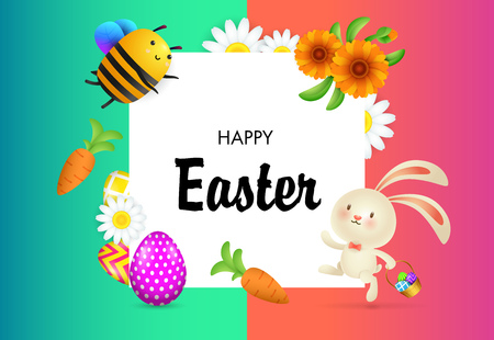 Happy Easter lettering with flowers, bee, bunny and eggs. Easter greeting card. Handwritten text, calligraphy. For leaflets, brochures, invitations, posters or banners.