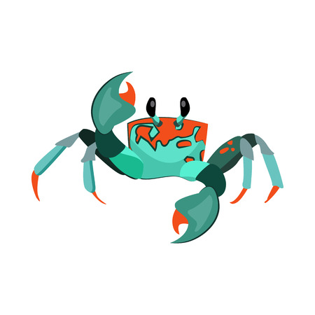 Exotic crab illustration. Mollusc, ocean, seafood. Nature concept. Vector illustration can be used for topics like sea animals, sea, restaurant, eating