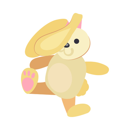 Yellow rabbit toy illustration. Cute, playing, srping. Newborn concept. Vector illustration can be used for topics like child, children stuff, toy market
