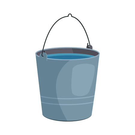Metal bucket illustration. Basket, home, cleaning. Houseware concept. Vector illustration can be used for topics like home, cleaning, houseware Illustration