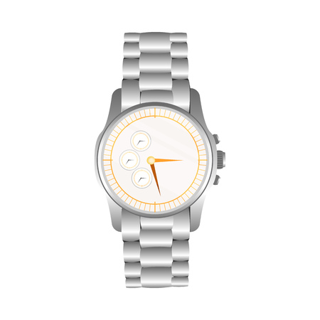 Metal wrist watch illustration. Clock, hand, accessorise. Style and fashion concept. Vector illustration can be used for casual style, time management, fashion Illustration