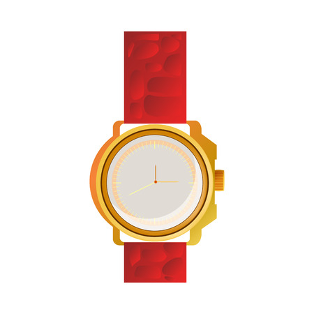Red wrist watch illustration. Clock, hand, accessorise. Style and fashion concept. Vector illustration can be used for casual style, time management, fashion