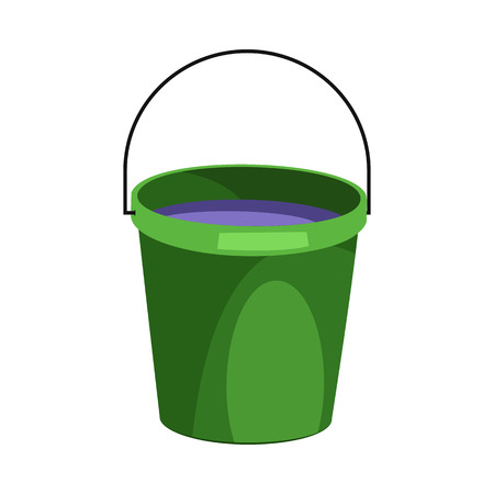 Green bucket illustration. Basket, home, cleaning. Houseware concept. Vector illustration can be used for topics like home, cleaning, houseware