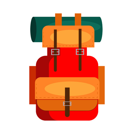 Camping backpack. Rucksack, equipment, roll mat. Vector illustration can be used for topics like trekking, expedition, adventure tourism